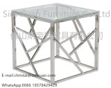 Modern and Contemporary Stainless Steel End Table with Tempered Glass Top
