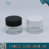 15ml 15g Cosmetic Clear Glass Cream Jar with Plastic Cap
