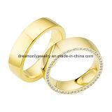 Gold Wedding Ring Circle CZ Zircon Stone Ring Couple Ring