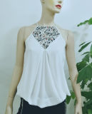 2017 Wholesale Womens Clothing Latest Chiffon Tops White Sexy Halter Embroidery Blouse Designs