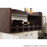 Solid Wood Wall Mounted Wine Display Rack with Glass Display
