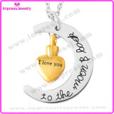 Heart with Moon Design Memorial Necklace Cremation Jewelry Pendants Stainless Steel