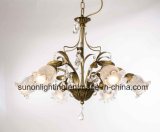 China Glass Shade Crystal Chandelier Light/Pendant Lamp with Bronze Leaf