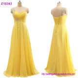 Fashion Clothes Wholesale Romantic Evening Dress One Shoulder Gowns Yellow Formal Gown Dress