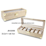 Elegant MDF PU Leather Packing Gift Wooden Box Watch Case