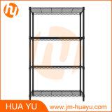 Powder Coated Black Adjustable Storage Shelf with Four Layers