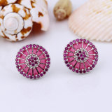 Ruby Cubic Ziconia Round Pizza Earring Brincos Zirconia