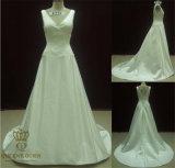 V-Neck Queens Wedding Dresss, Satin Bridal Dress