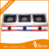 Three Burners Stainless Steel 710mm Length Iron Gloden Cap Gas Cooker (JP-GC303)