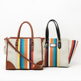 colorful designer rainbow series fashion lady tote handbag(QC-60B-64C)