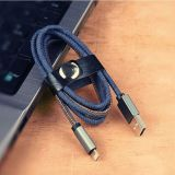 New High Quality Blue Leather Jean Denim Micro USB Cable
