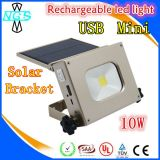 10W LED Rechargeable Mini Flood Light with Solar Panel