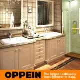 Oppein Europe Style Double Basin Alder Wood Bathroom Cabinet