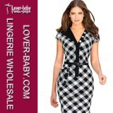 Woman Patchwork Bodycon MIDI Dress Business Party Casual Dresses (L36049-1)