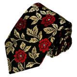 New Fashion Red Rose Flower Design Men′s Woven Silk Neckties