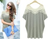 Lady's Plus Size New Design Batwing Short Sleeve Lace Shirt
