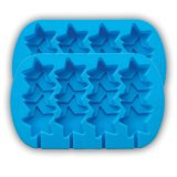 4-Cavity Nonstick Stacked Stars Silicone Mold Blue