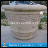 G682 Yellow /Brown Granite Stone Flower Pot for Garden Ornament