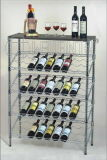 5 Tiers Slanted Chrome Metal Grape Wine Bottle Display Rack