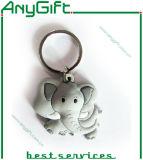 Pvc Keyring van SOFT van Shaped van de olifant met 3D 1 Side Design