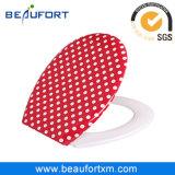 Il colore rosso con bianco macchia la sede di toletta domestica della stanza da bagno di uF