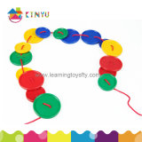 Toys pré-escolar Plastic Lacing Attribute Buttons para Kids Education