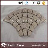 Fächerförmiger Kopfstein-Stein des Granit-G682/Pflasterung-Stein mit Mischfarbe G684