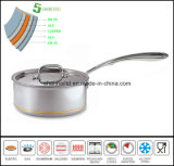 Core di rame Sauce Pan 5ply Body Saucepan