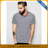 100%년 면 Mens 흑백 줄무늬 셔츠