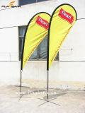 bandeira do vôo da impressão do lado do dobro da fibra de vidro da exposição de 2.8m/bandeira do Teardrop