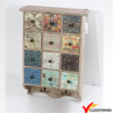 Portes en verre Vintage French Made Handmade Small Wall Cabinet