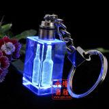 Anello portachiavi di cristallo Keychain Octagonal con il marchio e l'indicatore luminoso del LED