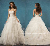 Vestidos de casamento Z8010 dos plissados do laço dos vestidos nupciais do querido