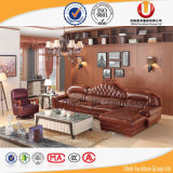 Sofá superior europeu do couro de grão com frame da madeira contínua/sofá real clássico (UL-X2028A)