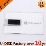 Ручка USB кредитной карточки изготовленный на заказ логоса прозрачная (YT-3101-02L)