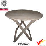 Tavolino da notte di legno del basamento dentellare antico della vernice piccolo