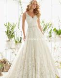 A - linha vestidos de casamento de cristal Mrl2821 da faixa de Tulle da V-Garganta do vestido nupcial do laço