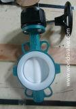 Válvula de borboleta alinhada PTFE da bolacha do Teflon com ISO Wras do Ce aprovado
