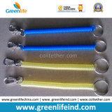 Buon connettore della molla degli anelli portachiavi gialli trasparenti della bobina per il pendente personale
