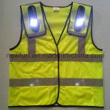 En471 100% het Polyester Gebreide LEIDENE Opvlammende Gele Weerspiegelende Vest van de Veiligheid