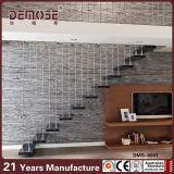 Escalera recta labrada de madera sólida con el pasamano de cristal (DMS-6041)
