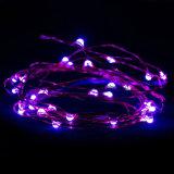 Lumières de corde, câble métallique pourpre chaud lumineux superbe de couleur Lumière-Pourpre
