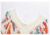 Camiseta larga floja franjada mano nacional de la manga del sabor del otoño