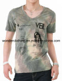 T-shirt de bonne qualité ajusté d'hommes estampé par collet de la mode V d'effet de teinture