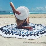 Coperta rotonda della spiaggia del tovagliolo di spiaggia del cotone con superiore