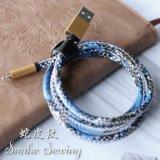 Sync данным по кожи змейки высокого качества 2.4A поручая кабель USB