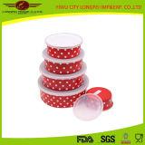 Красный шар салата эмали Volor 5PCS установленный с пластичной крышкой