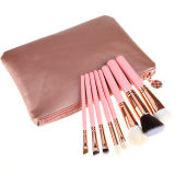 Cepillo cosmético del maquillaje de la virola del oro de Rose de la maneta del color de rosa del cepillo del pelo natural de 8 PCS