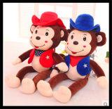 Scimmia molle della peluche del burattino dell'animale domestico della pelliccia dell'animale farcito per i bambini