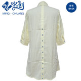 Mixed Color MID-Sleeve Cotton Strips-Pattern Button Loose Ladies Blouse